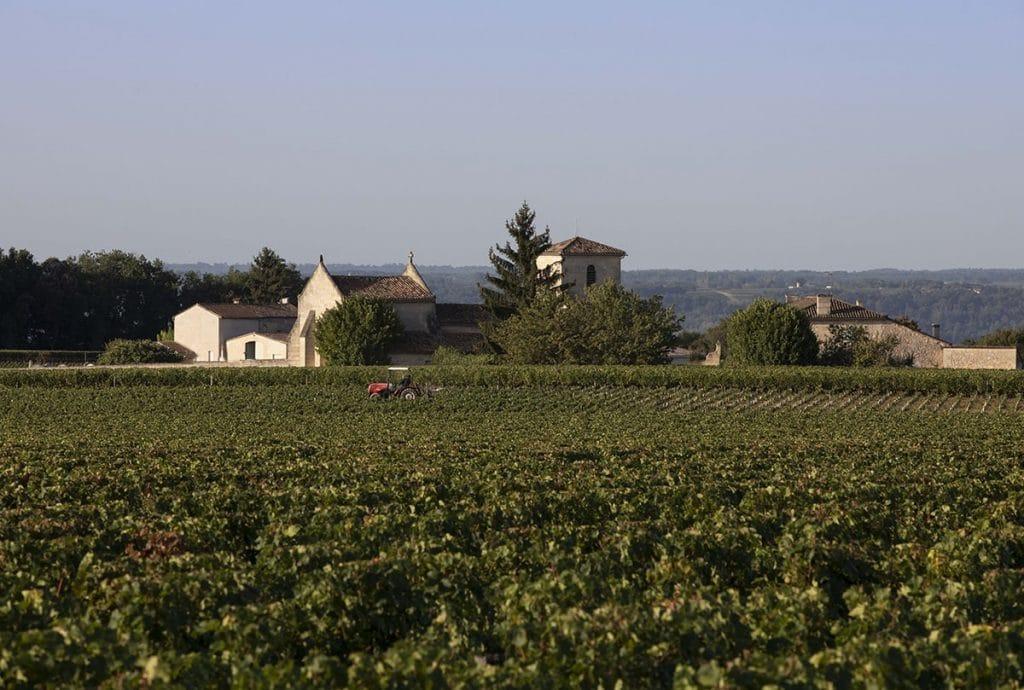 tracteur dans les vignes devant le village de ferrand