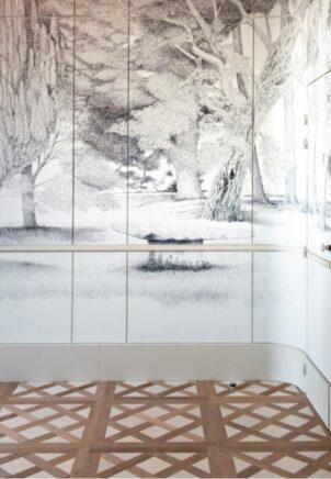 vue de la fresque sur le mur du salon bic